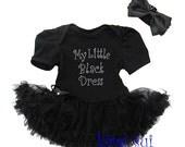 Rhinestone My Little Black Dress Baby Black Bodysuit Pettiskirt and Headband Onesie tutu skirt  ,Baby Girl romper.