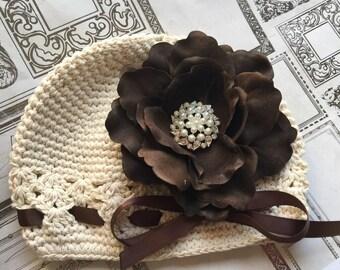 Toddler Baby Girl cream Crochet Hat ,infant baby ,rhinestone flower hat