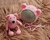 Knit Bear Bonnet and Stuffy Set Newborn Prop