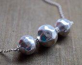 Textured Sterling Silver Bead Necklace, Bar Pendant, Geometric Jewelry