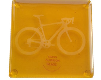 Yellow Bike Fused Glass Coaster