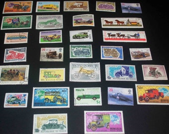 30World stamps of Cars many unused mint lot 23