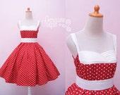 Red Polkadot Pin Up Dress / Shelf Bust Swing Rockabilly Dress / Plus Size 50s Girl Party Gown