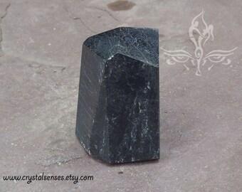 Black Tourmaline Gemstone Crystal Point 32mm x 25mm x 40mm (BTOUP0021)