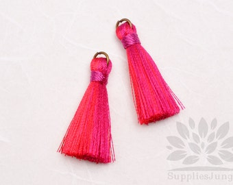 T001-MRP// Multi Red, Pink Tassel Pendant, 4pcs, 40mm x 8mm