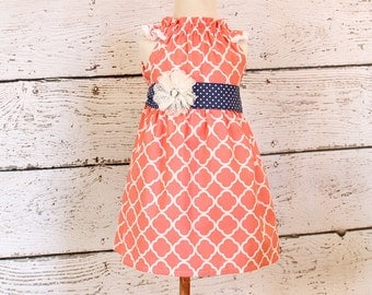 Sew Sweet Dress - Navy and coral pink peasant dress
