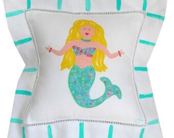 Teal Mermaid Linen Pillow