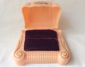 Fab Peach Art Deco Ring Box Red Velvet Wedding Display Celluloid Plastic jewelry Vintage