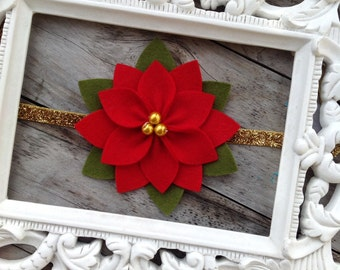 Christmas Baby Headband Felt Poinsettia Flower Headband Newborn Headband Baby Girl Headbands Holiday Headbands Toddler Headbands