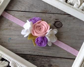 Felt Flower Springtime Flower Headband Baby Girl Headbands Easter Headbands Baby Headbands Photography Prop Pink Glitter Headband