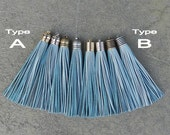 Light Blue Gray Leather (Cowhide) TASSEL in 12mm Dome-shaped Cap (Type A) or Lined Cap (Type B)- Pick your tassel cap