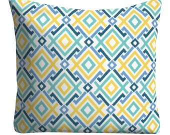 Outdoor Pillows, Blue Yellow OUTDOOR Pillows,Throw Pillows, Patio Pillows, Blue Yellow Outdoor Pillows, Pillow Covers