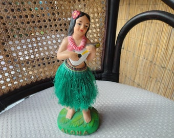 1970's Hawaiian Hula Girl Nodder with Guitar and real grass skirt Japan