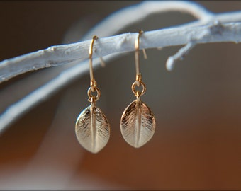 Little Leaf Dangle Earrings, Available in Gold and Rose Gold