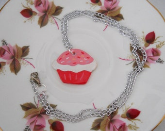 Pink and White Cupcake Polymer Pendant Necklace