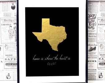 Texas Art - Texas Artwork - Texas Art Print - Texas State - State Artwork - Home Decor Art - Black And Gold Print- Dorm Room Decor- Dorm Art