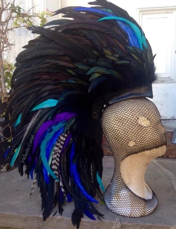 "Colorful Feather Mohawk Headdress  - ""Kanaloa"""
