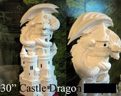 "Huge, Garden Dragon with Castle, Dragon and Castle, 30"" , Fantasy Dragon, Renaissance Dragon, Ready to Paint, U-paint, Ceramic Bisque"