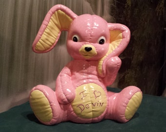 """Adorable, Large, Softee Rabbit, Stuffed Animal, Softie, Softy, Bunny, Kimple, Rabbit, 12"""" tall, Ready to paint, ceramic bisque, u-paint"""