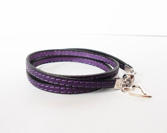 SALE purple leather bracelet, stitched leather cuff, leather wrap, personalised charm bracelet, boho chic jewelry, gift for her
