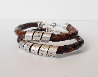 secret message leather cuff, hidden message leather bracelet, mens womens secret message bracelet, rocker style, personalized bracelet