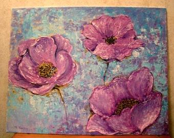 Purple flower painting, Purple Poppy, Purple Flowers,Purple and Blue Original Painting, Acrylic Poppy Painting, Palette Floral Painting