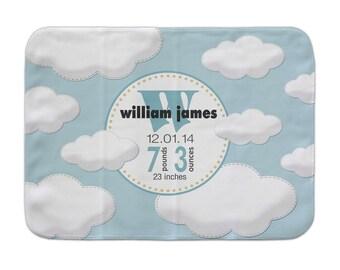 Personalized Cloud Baby Blanket, Custom Receiving Blanket, Baby Boy Blanket, Stroller Blanket, Cloudy Sky Nursery, Crib Blanket