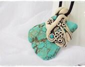 Arrow Tribal Pendant, Turquoise Stone Necklace, Stone Pendant, Spiritual Protection Necklace, Howlite Stone Necklace, Fifth Chakra Pendant