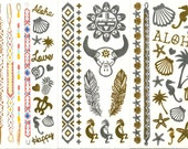 Group of three small tattoo sheets with lots of fun gold silver and colour designs - gold tattoos - mini metallic tattoos - body art