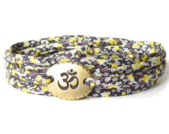 Yoga bracelet in lemon yellow and grey, meaningful gift for colleague, girls bracelet with Ohm charm and Liberty fabric