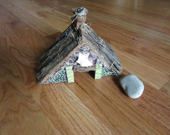 Miniature House Garden Art Toad Abode One of a Kind Original Yard Art