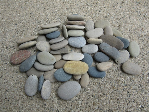 50 oval and oblong flat beach stones mosaic craft by for Flat stones for crafts