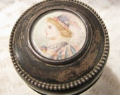 Antique Sterling Silver with Miniature Hand Painted Lid Crystal Cut Glass Vanity Dresser Jar