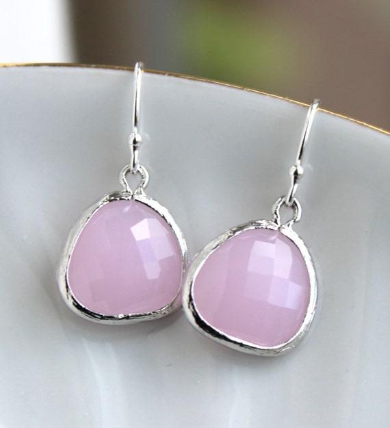 Silver Pink Opal Earrings - Light Pink Earrings - Silver Pink Jewelry - Sterling Silver Earwires - Bridesmaid Jewelry - Wedding Earrings