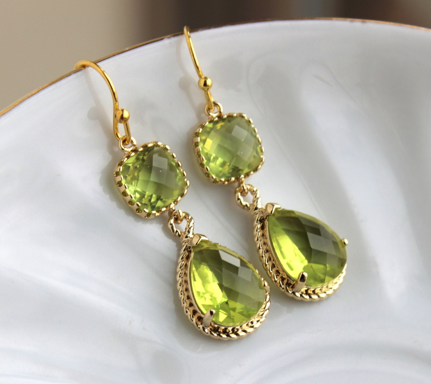two earrings gold peridot earrings apple green two tier earrings peridot 6584