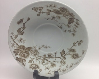 Antique W. H. Grindley Saucer 1880  Plate Brown and White Spring Pattern 6 in ironstone