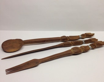 African Salad Set Vintage Hand Carved Wood African Fork Knife Spoon Kitchen Tools
