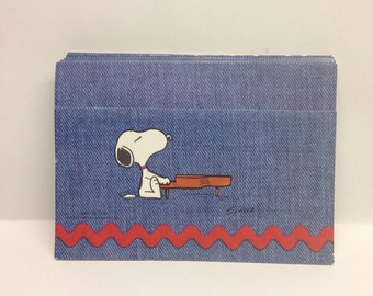 Vintage Hallmark Postalette Snoopy Playing the Piano Blue with Siticker