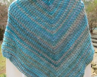 Crochet Shawl, Open Filet Triangle Stole, Wrap - Tidal