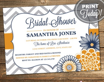 Chevron Bridal Shower Invitation / Wedding Shower / Navy Blue and Orange Flowers / Printable File INSTANT DOWNLOAD