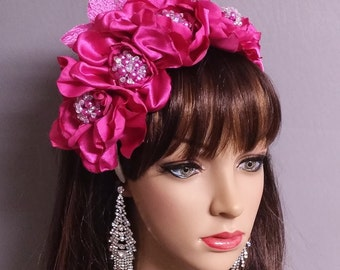 Bridal Headband Pink Satin Flower Pearls Headband- Bridal Accessories