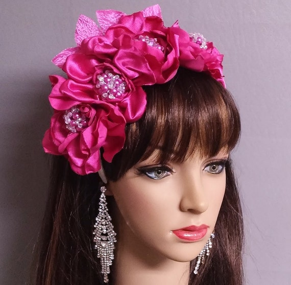 flower headbands for weddings bridal headband pink satin flower pearls headband bridal 4196