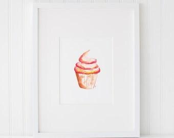 Watercolor Cupcake, Watercolor Painting, Wall Art Print - Art Drawing Watercolor Print - 5x7, and 8x10