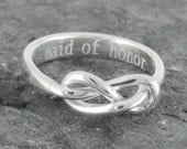 Infinity ring, maid of honor gift, maid of honor, best friend, promise,personalized, friendship, sisters, mother daughter, Bridesmaid Gift
