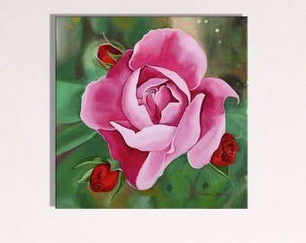 Purple Rose Canvas Print- Print of an Oil Painting- Bright, Bold, Beautiful Floral Wall Art!