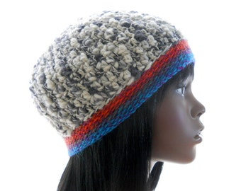 Wool - Blend Hat, Crochet Beanie Hat, Gray Tweed Hat with Multicolor Band, Small Size