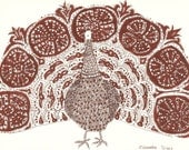 Original sketch decorative PEACOCK // folk artwork by Elisaveta Sivas // 5,9 x 7,9' (15 x 20,2 cm)