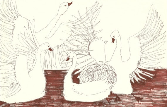 Original ink sketch SWANS // hand drawings by Elisaveta Sivas // 7,5 x 11,8'
