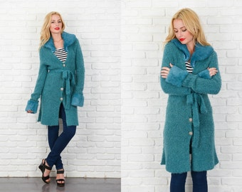 Vintage 80s Teal Wool Knit Coat plunging Rabbit fur collar retro Small S 3860