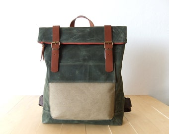 "Waxed Canvas Backpack in Olive Green - Adjustable Cotton Straps - Orange Zipper - Leather Accessories - 15"" Laptop-Waterproof"
